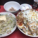 【二郎系】びんびん豚  富士見市 汁なし 麺700g ヤサイ+エビマヨ+大豚+生卵+生卵+たまねぎ【デカ盛り】