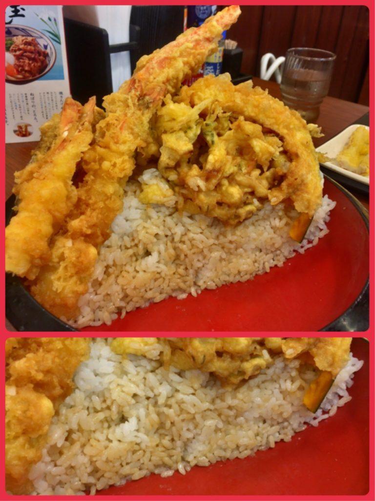丸亀製麺 のジャンボ天丼断面