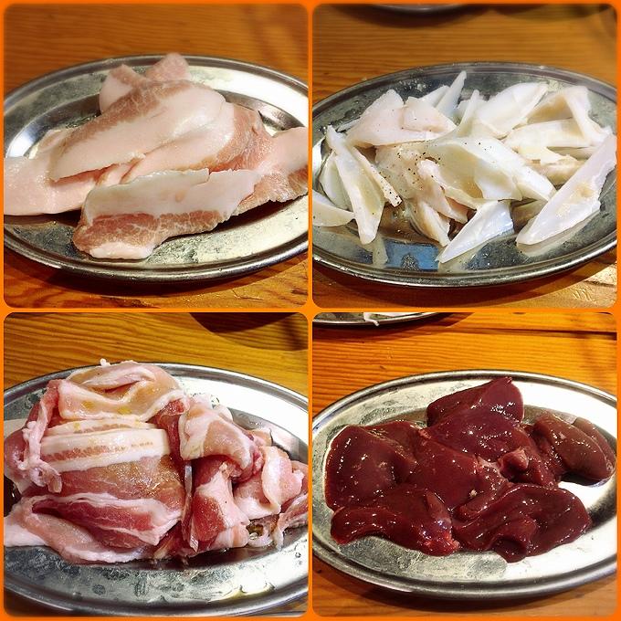 豚トロ、豚バラ、軟骨、レバー