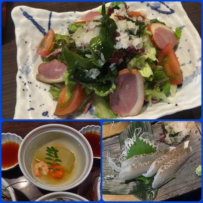 藍屋、サラダ、季節の炊き合わせ