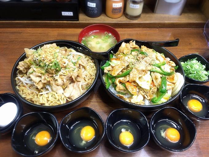 伝説のすた丼屋、肉盛りすたみな麺+甘辛野菜丼